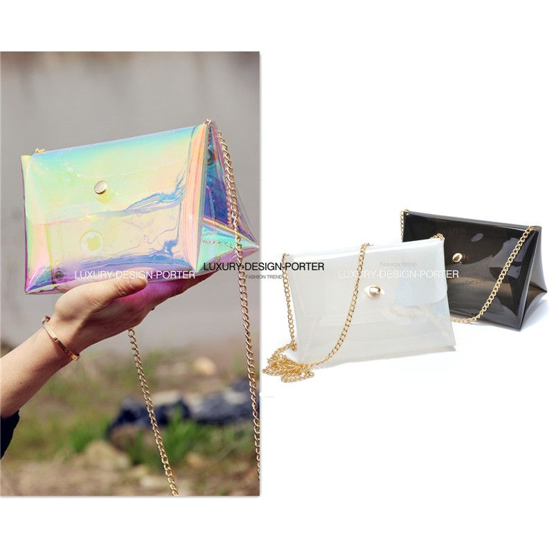 Designer Multi color Hologram Transparent Messenger bag Purse Shoulder bag Ladies chain bag Bolsa