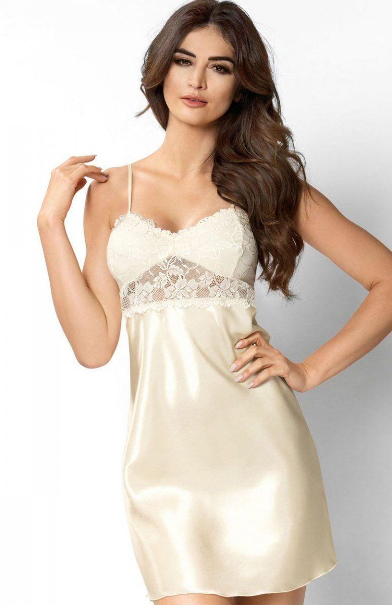 65d6e5ae23b119 Donna Venus koszulka ecru Ekskluzywna koszulka nocna - piękna i kobieca,  wykonana została z eleganckiej satyny, pięknie wykrojony dekolt ozdobiony  został ...