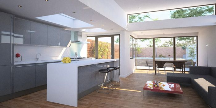 Simple Kitchen Extension the extra slot window over the sliding door actually bring in more