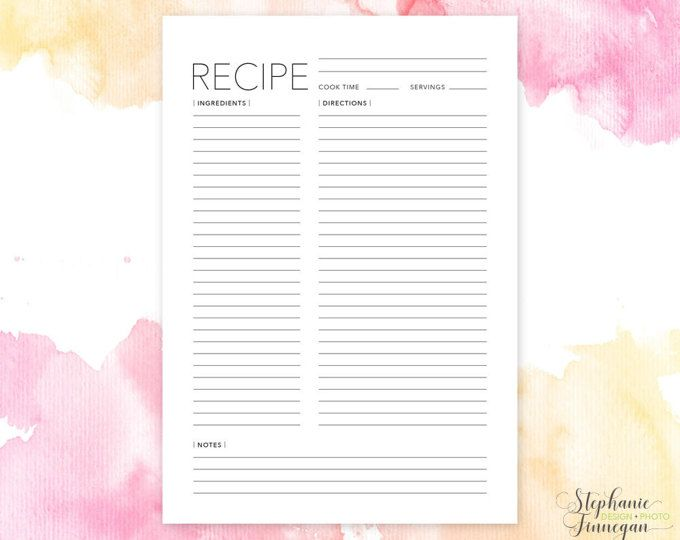 A5 Recipe Page Recipe Page A5 Recipe Book Recipe Card