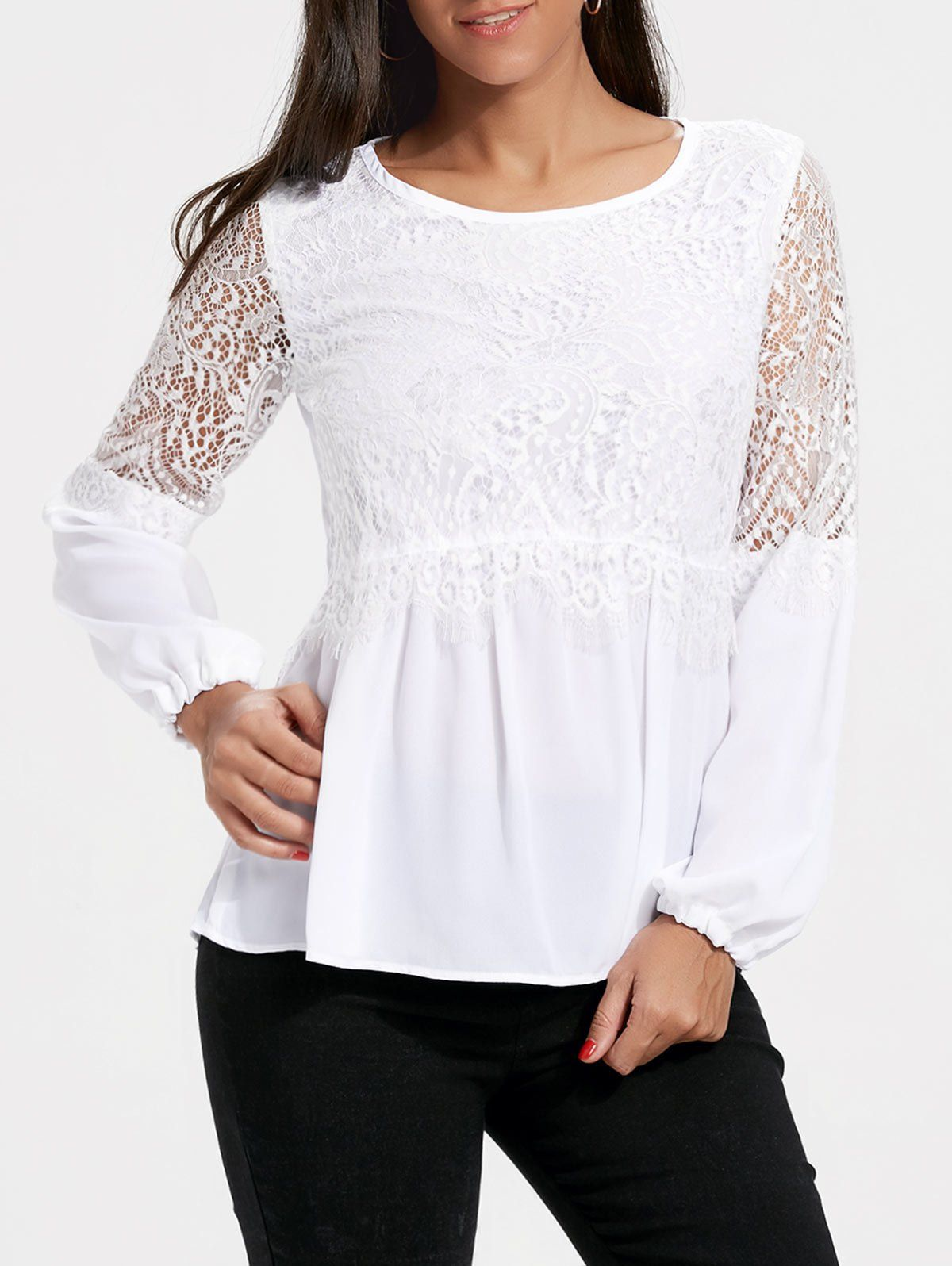 3e32f2bc0d1 White Casual Fall Spring Fashion Lace Womens Top