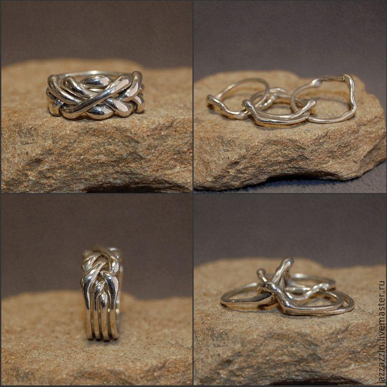 Купить Кольцо-головоломка - серебряный, серебро, кольцо, паззл, кольцо-паззл, головоломка, серебро