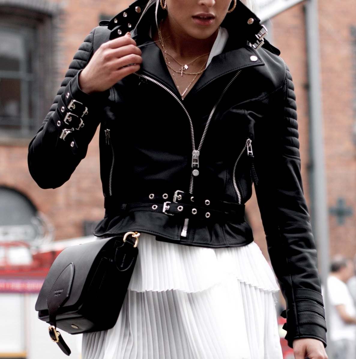 Women S Ribbed Black Leather Jacket Lookbook Outfits Leather Jackets Women Leather Jacket [ 1196 x 1186 Pixel ]