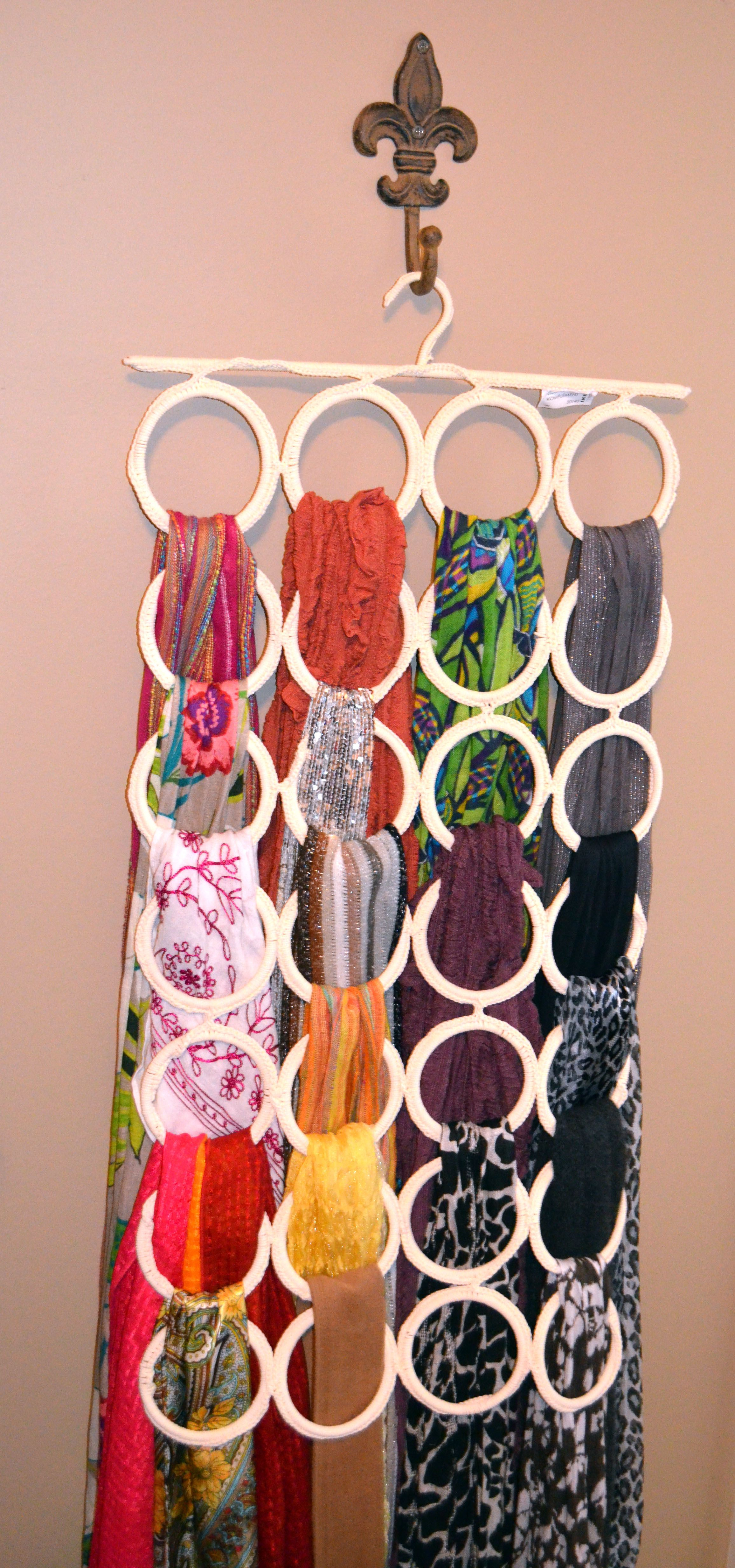 Scarf hanger! The hanging loop thing I found at Ikea, and I use it for all my scarves!! LOVE IT!!                                                                                                                                                                                 More