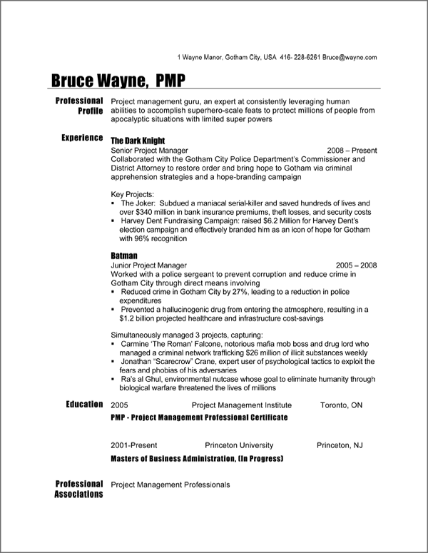 Batman Project manager resume sample | Project Management ...
