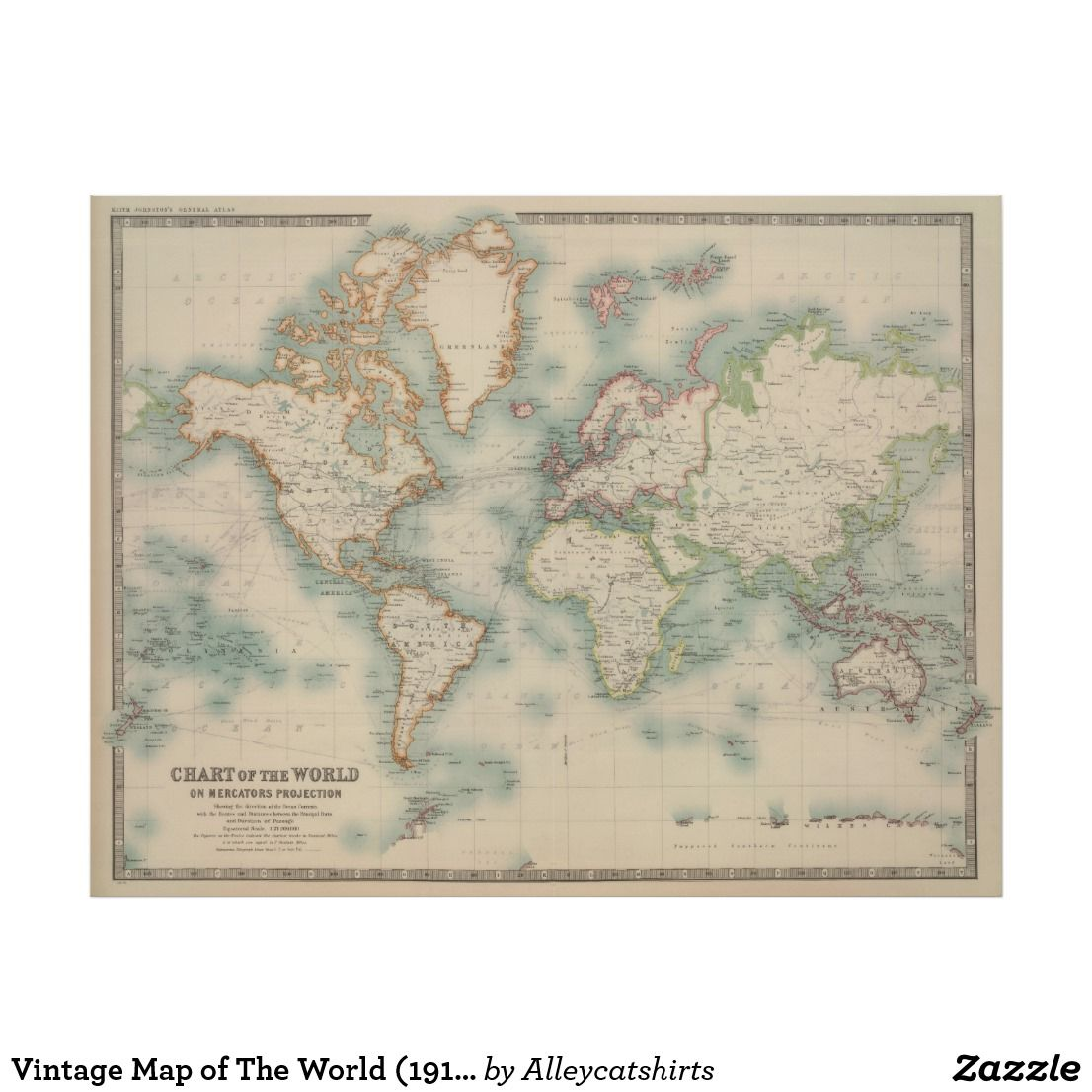 Vintage Map Of The World 1911 Poster Zazzle Com
