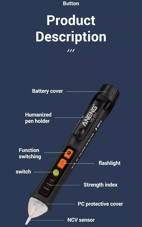 Aneng vd901 electrical tester pen 121000v ac voltmeter