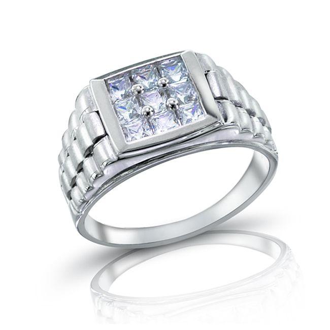 4c95435d74d8c 925 Sterling Silver Rolex Style 9 Princess Cut Stone CZ Ring For Men ...