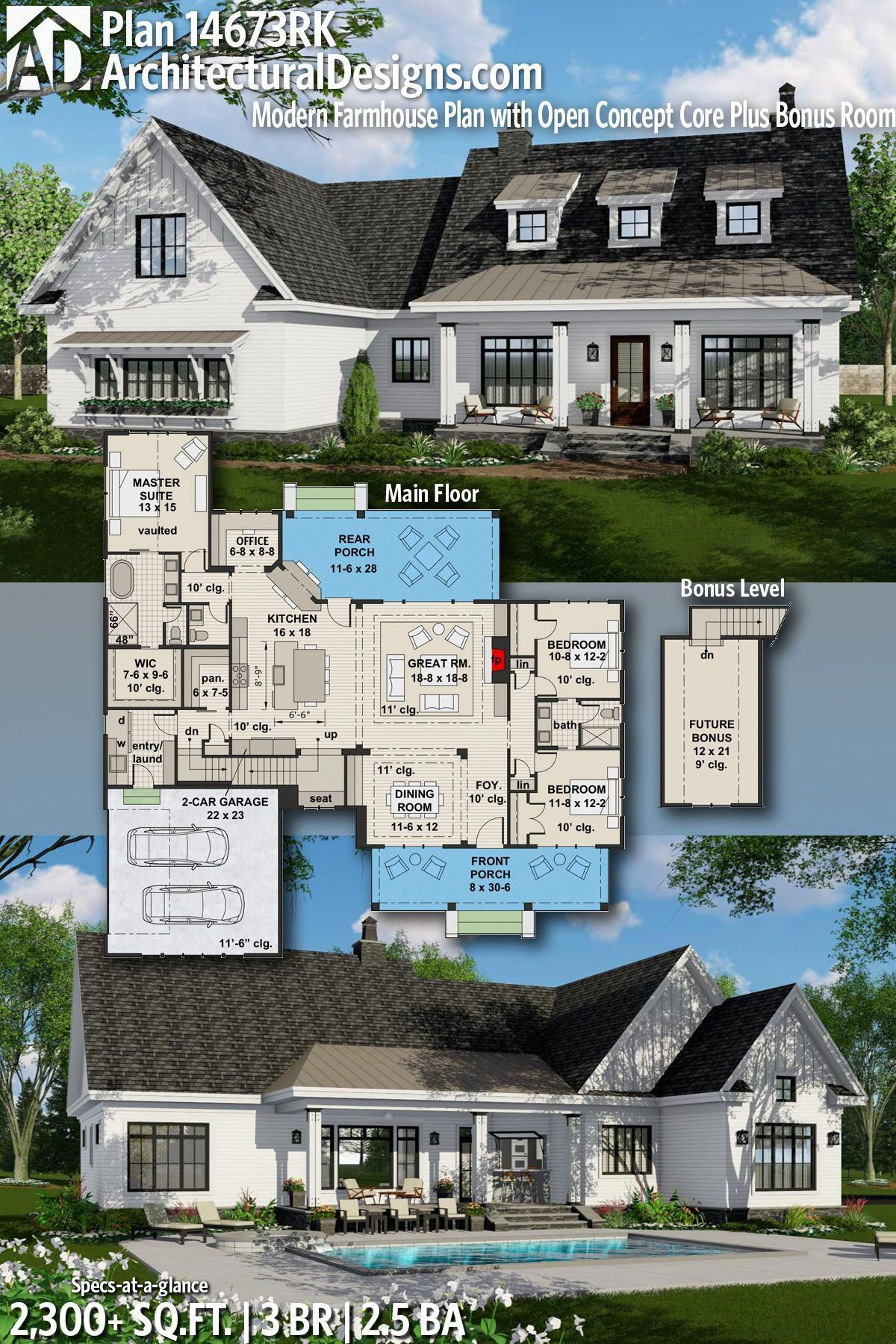 Architectural Designs House Plan 14673rk Gives You 3 Bedrooms 4 2 5 Baths And 2 300 Sq Ft Read Modern Farmhouse Plans House Plans Farmhouse Farmhouse Plans