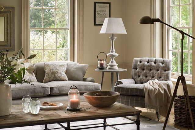 New England Winter Tan Living Room Interior Decorating Living