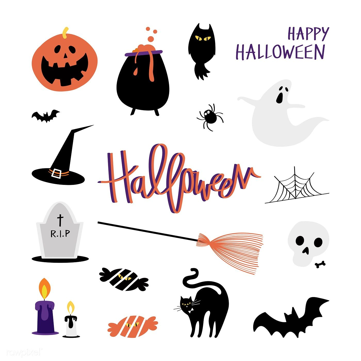 Cute Halloween day concept illustration free image by