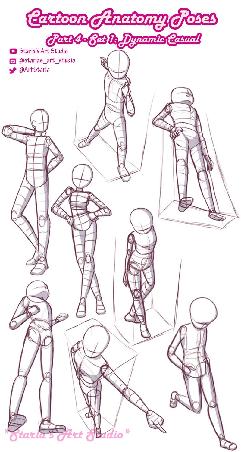 Drawing Dynamic Cartoon Standing Poses Starla S Art Studio In 2020 Drawing Body Poses Art Poses Drawing Reference Poses