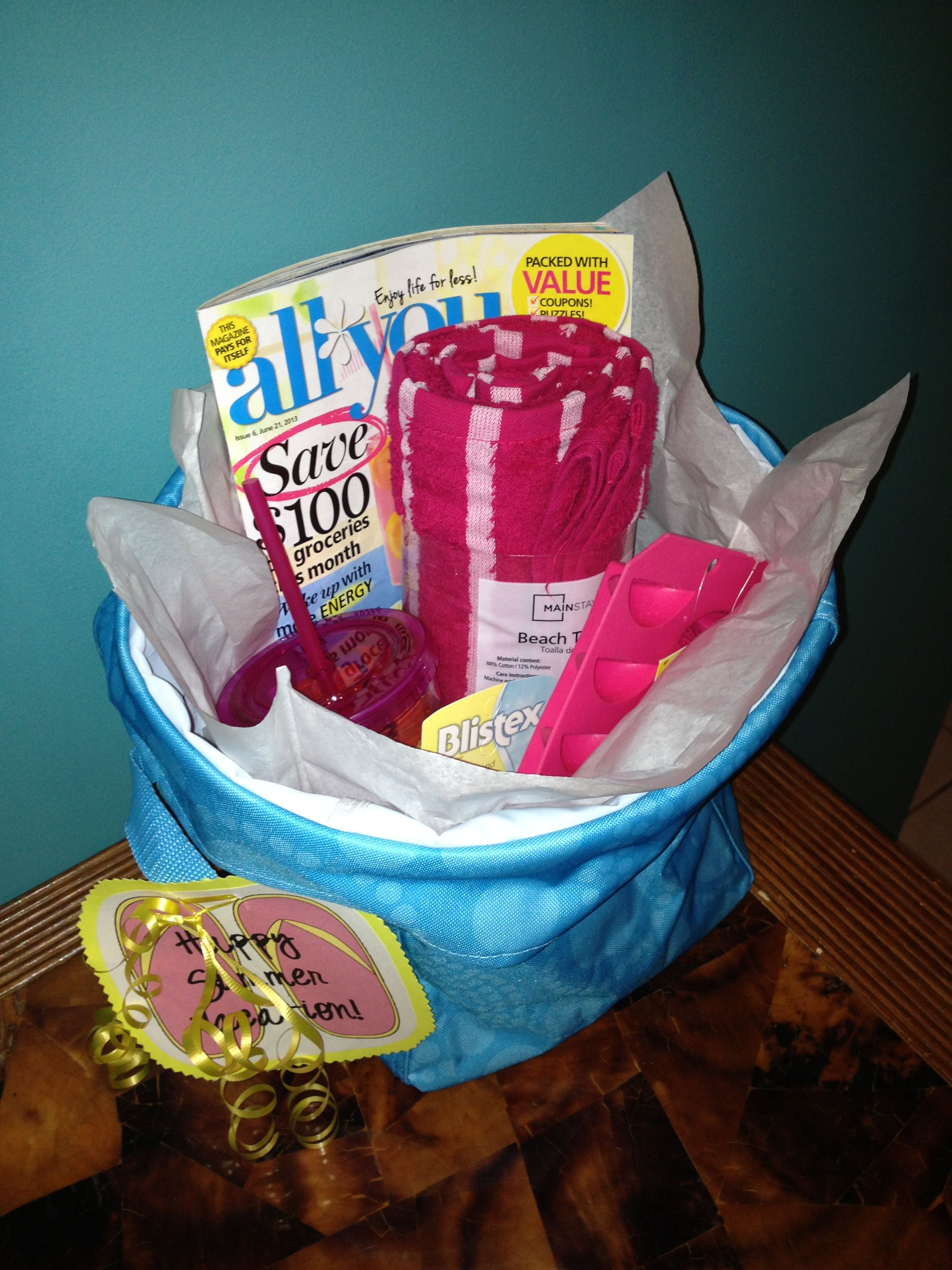 Happy Summer gift basket! Towel, Chapstick, aloe, sun screen, ice cube tray, thermal cup with straw and lemonade/iced tea packets. Summer essentials!