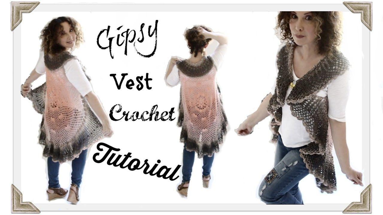 Crochet Gipsy Vest adult Tutorial | Tejido Crochet Realizados ...