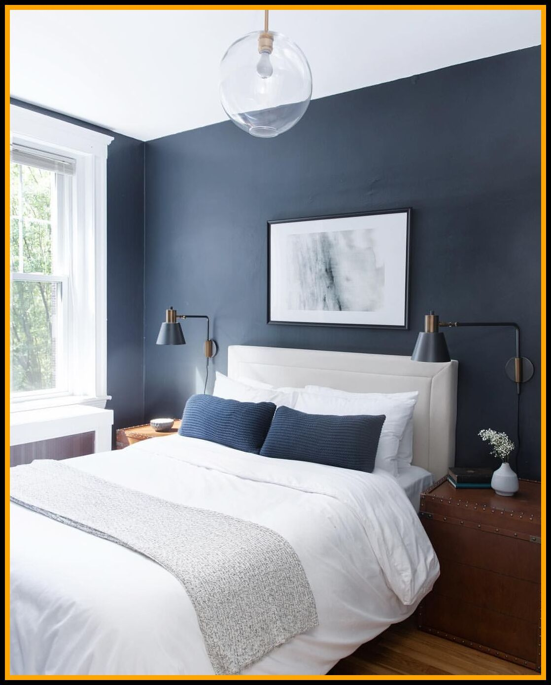 129 reference of master bedroom navy blue accent wall in ...