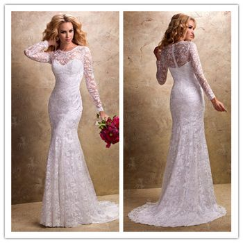 wedding dresses with lace sleeves | ... Custom made lace long sleeve wedding dresses long sleeve bridal gowns