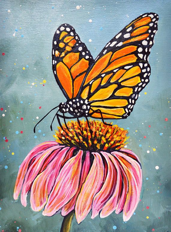 Monarch Butterfly Acrylic Painting | Acrylic painting ...