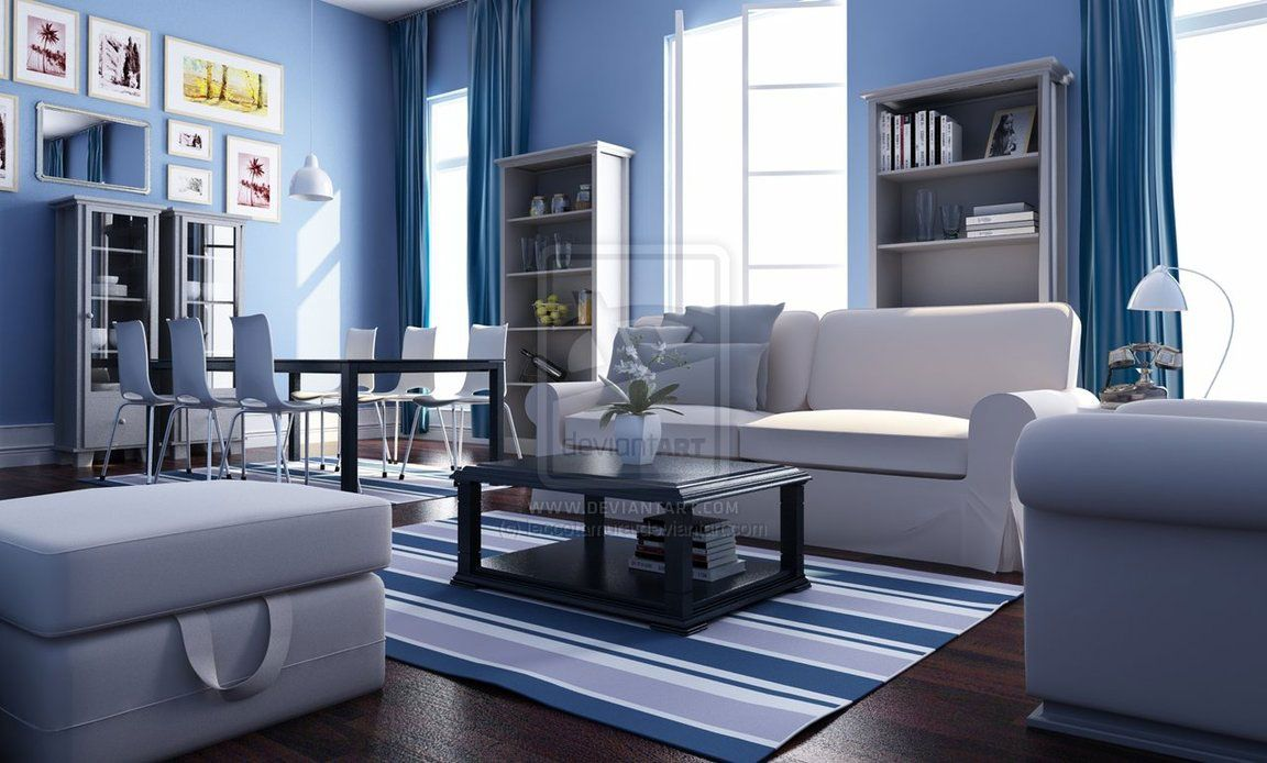 exclusive decor white blue theme living room interior | decoración