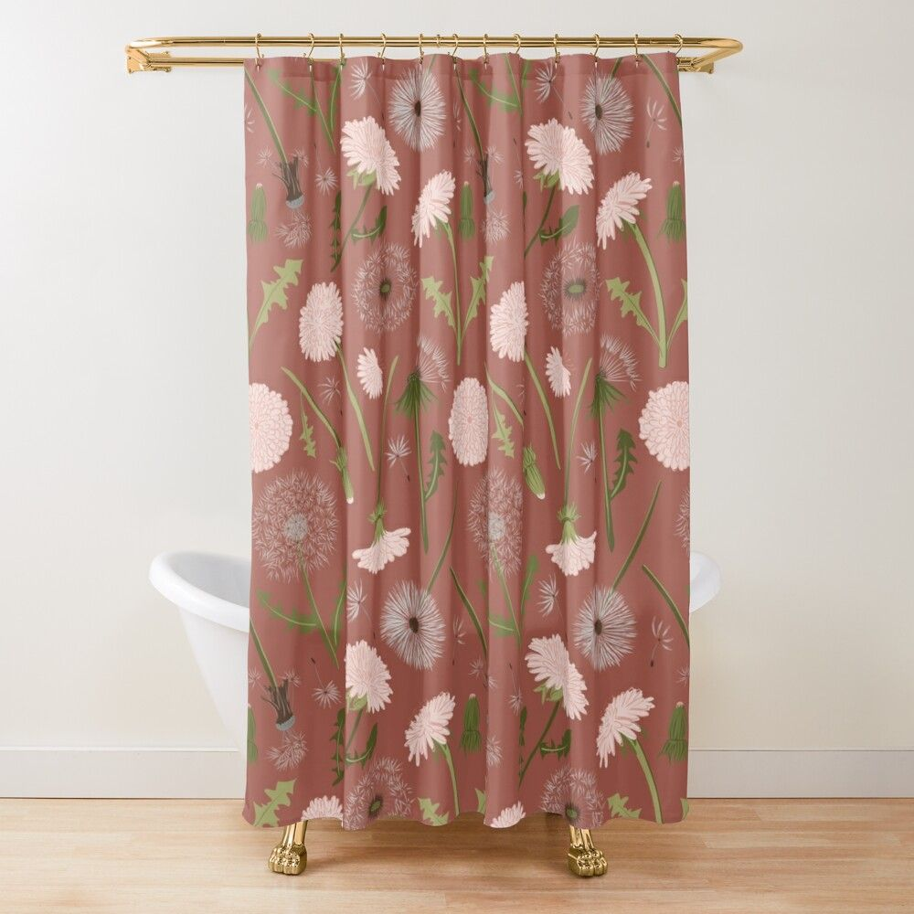 Pink Rust Dandelions Shower Curtain In 2020 Floral Shower
