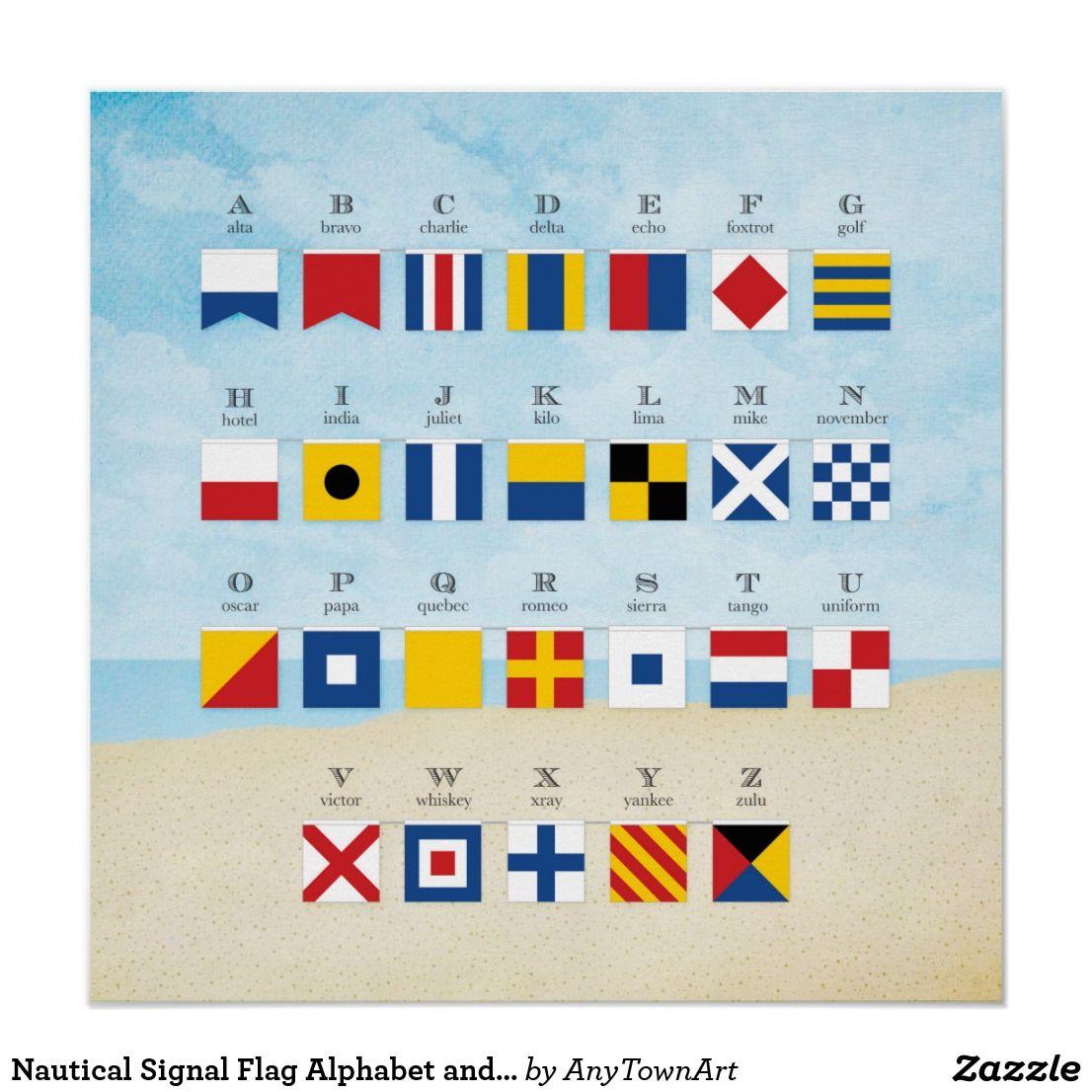 Nautical Signal Flag Alphabet And Beach Poster Zazzle Com With