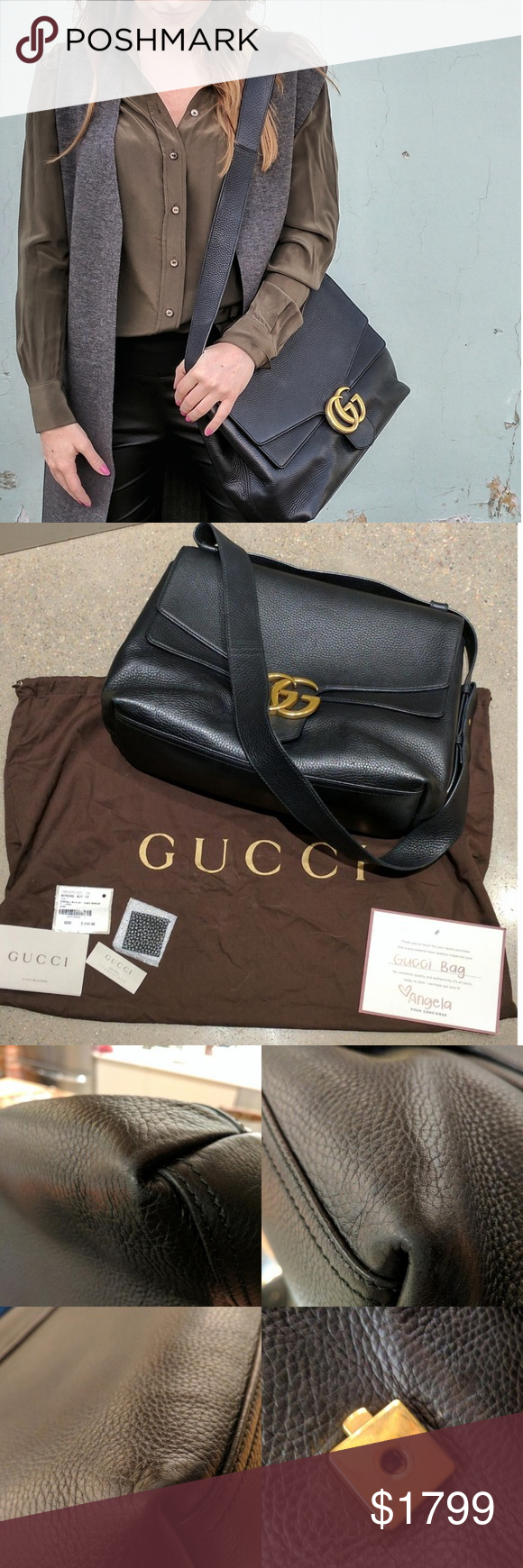 "GUCCI GG MARMONT LEATHER SHOULDER BAG CONDITION  Gently Used  Exterior scuffs or marks  This item has visible signs of wear  DESCRIPTION  100% authentic. comes with authentication card from PM, dust bag, cards. and leather sample. slight scratching on logo, small amount of wear on corners - see pictures for more detail.  Contact Seller  DETAILS  Type:  Shoulder Bags  Measurements:  13""L x 10""H x 5.5""W  Color:  Black  Brand:  Gucci  Fabric:  Leather  Style/Collection:  GUCCI GG MARMONT…"