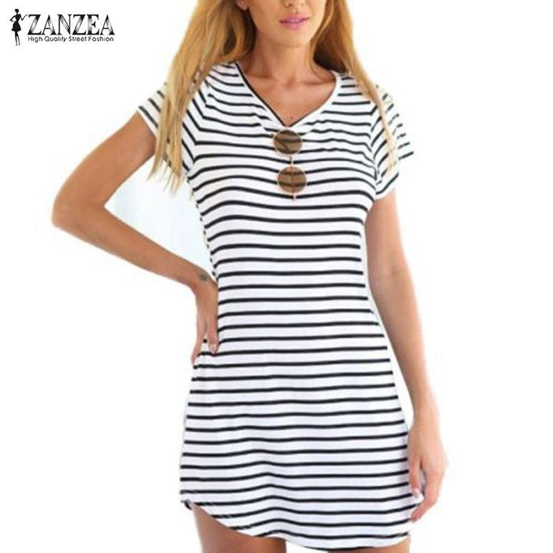 Blue and white striped dress ukuran