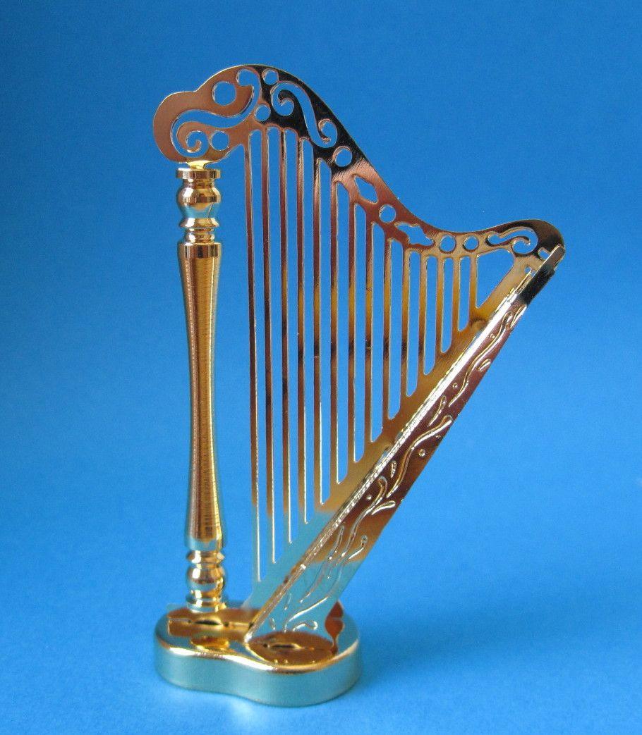 Puppenhaus Harfe Metall Goldfarben Musikinstrument Miniatur 1 12 Harfe Musikinstrumente Instrumente