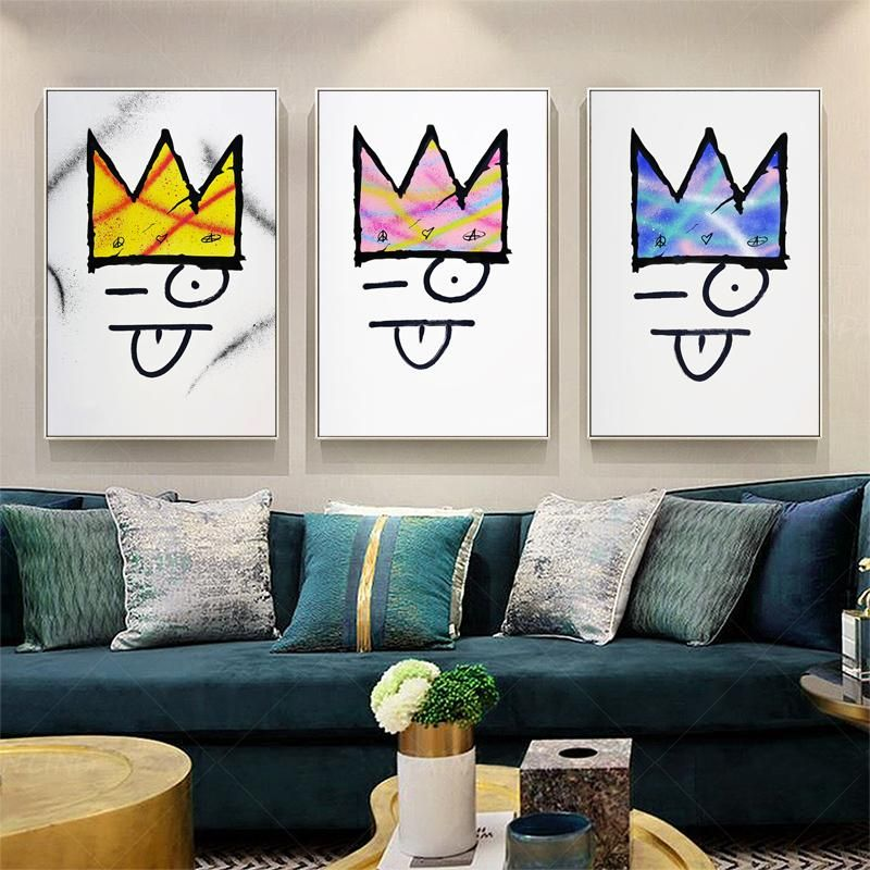 Banksy Modern Colorful Crown Art Canvas Painting Poster Wall Decor Eleartwall In 2020 Crown Art Canvas Art Canvas Painting