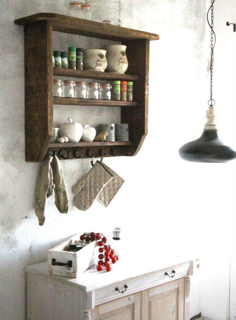 Wand Regal Gewurzregal Kuchen Regal Holz Braun Shabby Vintage Landhaus Bauernhaus Fertig Montiert In 2020 Regal Holz Regalwand Gewurzregal