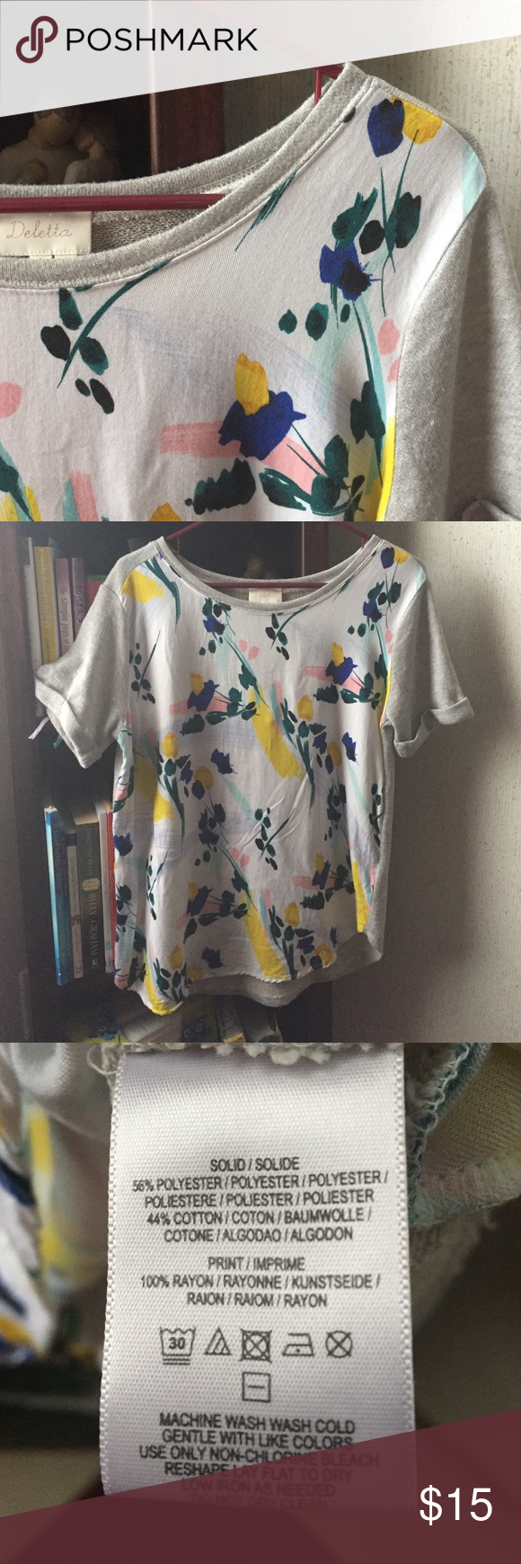 Deletta, anthropologie top. Super cute and comfy. Back side is sweater type. Has a slight asymmetrical look at the bottom of shirt. Anthropologie Tops