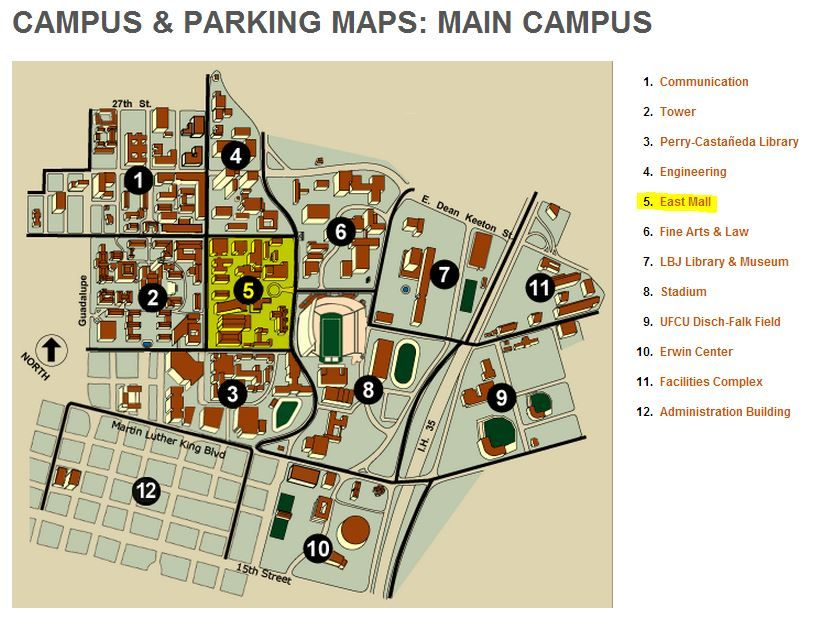 Map Of Texas University Austin.Campus Parking Maps Main Campus University Of Texas 2013