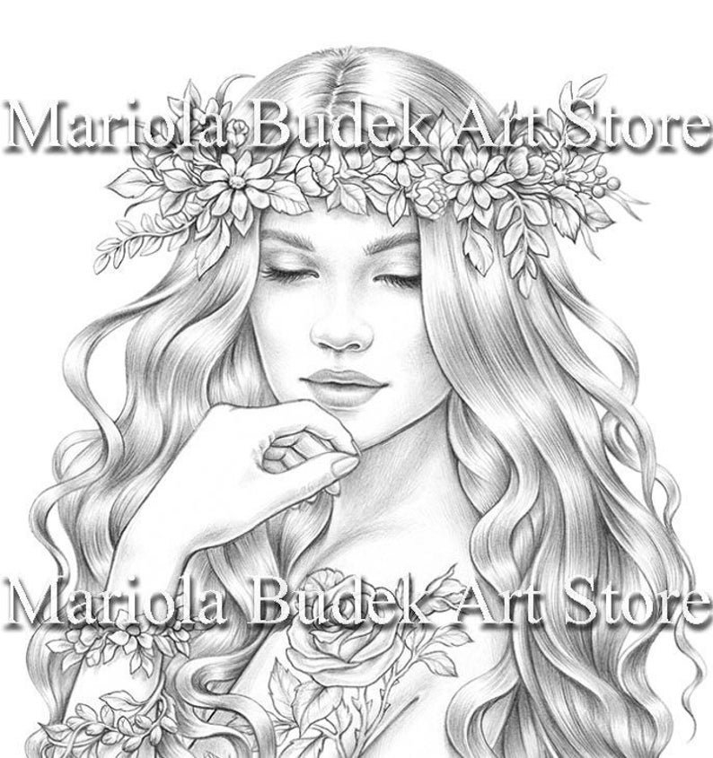 Spring Blossom Mariola Budek Premium Coloring Page Etsy In 2021 Coloring Pages Coloring Books Drawing Images