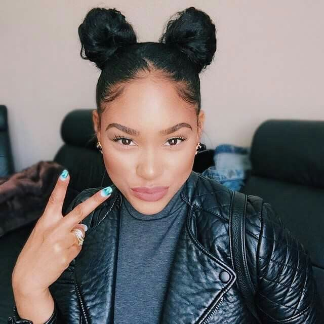 Throwback Hairstyle Two Buns Itsmyrayeraye Curly Hair Styles