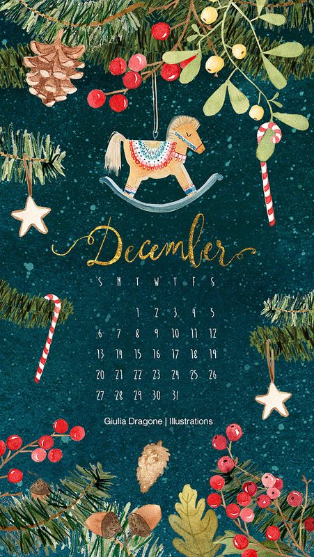 December in 2020 Christmas phone wallpaper, December
