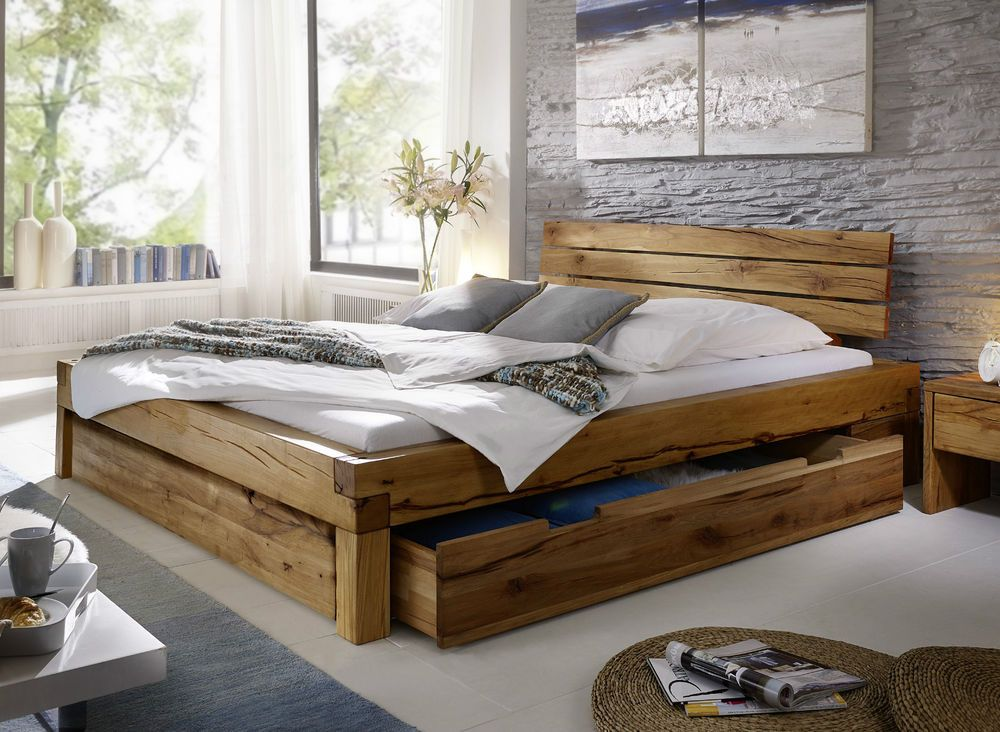 balkenbett bett doppelbett 180x200cm wildeiche eiche holz. Black Bedroom Furniture Sets. Home Design Ideas