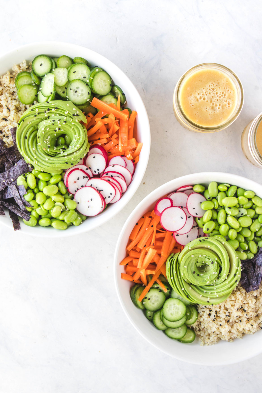 Quinoa Sushi Bowls with Orange Miso Dressing (Vegan) - From My Bowl