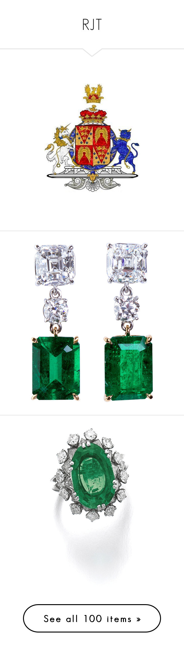 """RJT"" by duchessq ❤ liked on Polyvore featuring jewelry, earrings, royal jewellry, green, gold emerald earrings, diamond drop earrings, platinum earrings, green drop earrings, emerald earrings and rings"