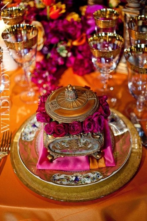 place setting in deep, rich tones