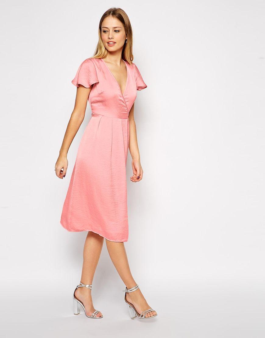 Image 1 of ASOS Premium Satin Cross Front Midi Dress