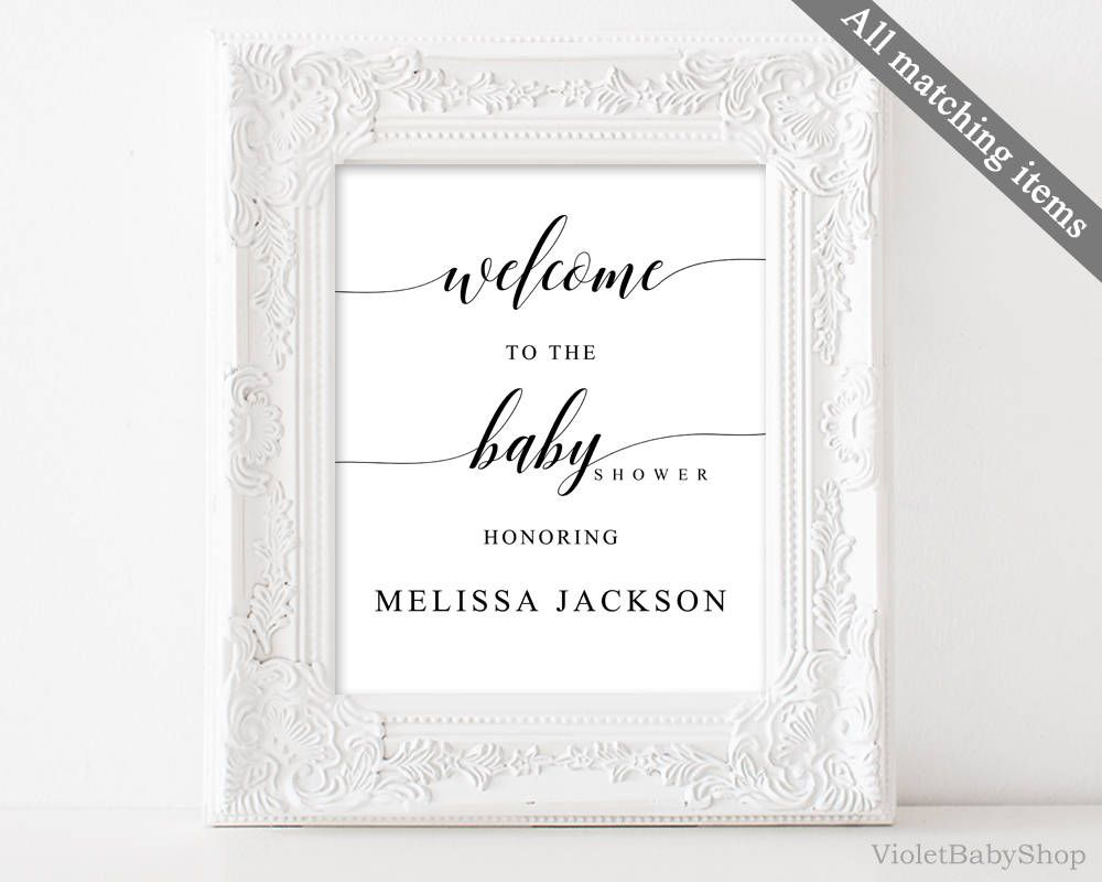 Rustic Welcome Sign Template Printable Baby Shower Sign Calligraphy ...