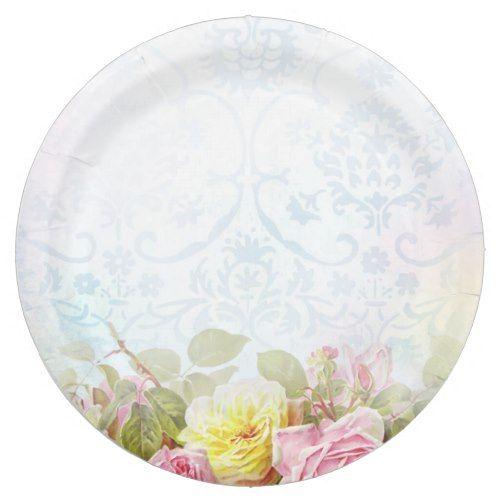 Vintage Roses Paper Plate | Vintage Wedding Ideas | Pinterest ...