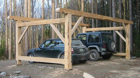 Timber frame carport barns and sheds pinterest woods for 4 car carport plans