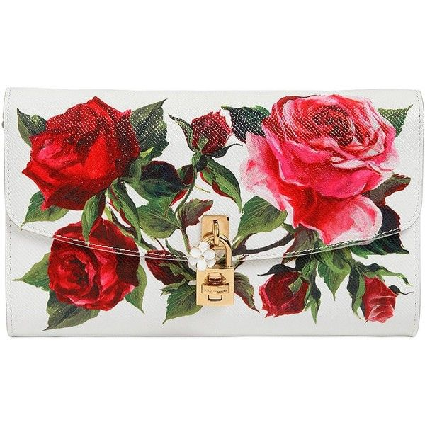 76bb47f3 Dolce & Gabbana Women Roses Dauphine Print Leather Clutch found on Polyvore  featuring polyvore, women's fashion, bags, handbags, clutches, bolsas,  white, ...