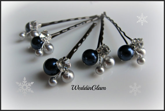 Flower Hair Pins Wedding Accessories Navy Blue Silver Grey Pearls Rhinestone Clips Bridesmaid Waterfall Hairdo Prom