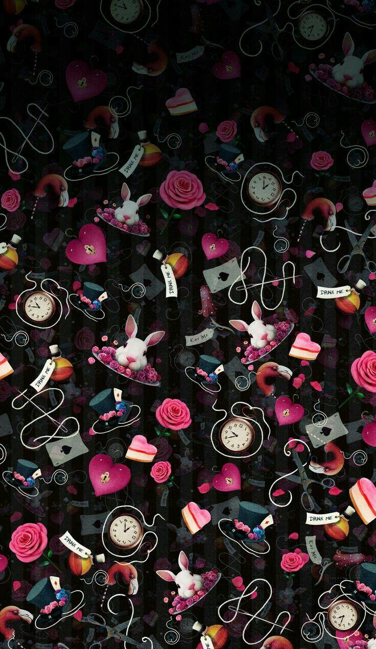 Black and pink alice in wonderland iphone wallpapers - Alice in wonderland iphone wallpaper ...