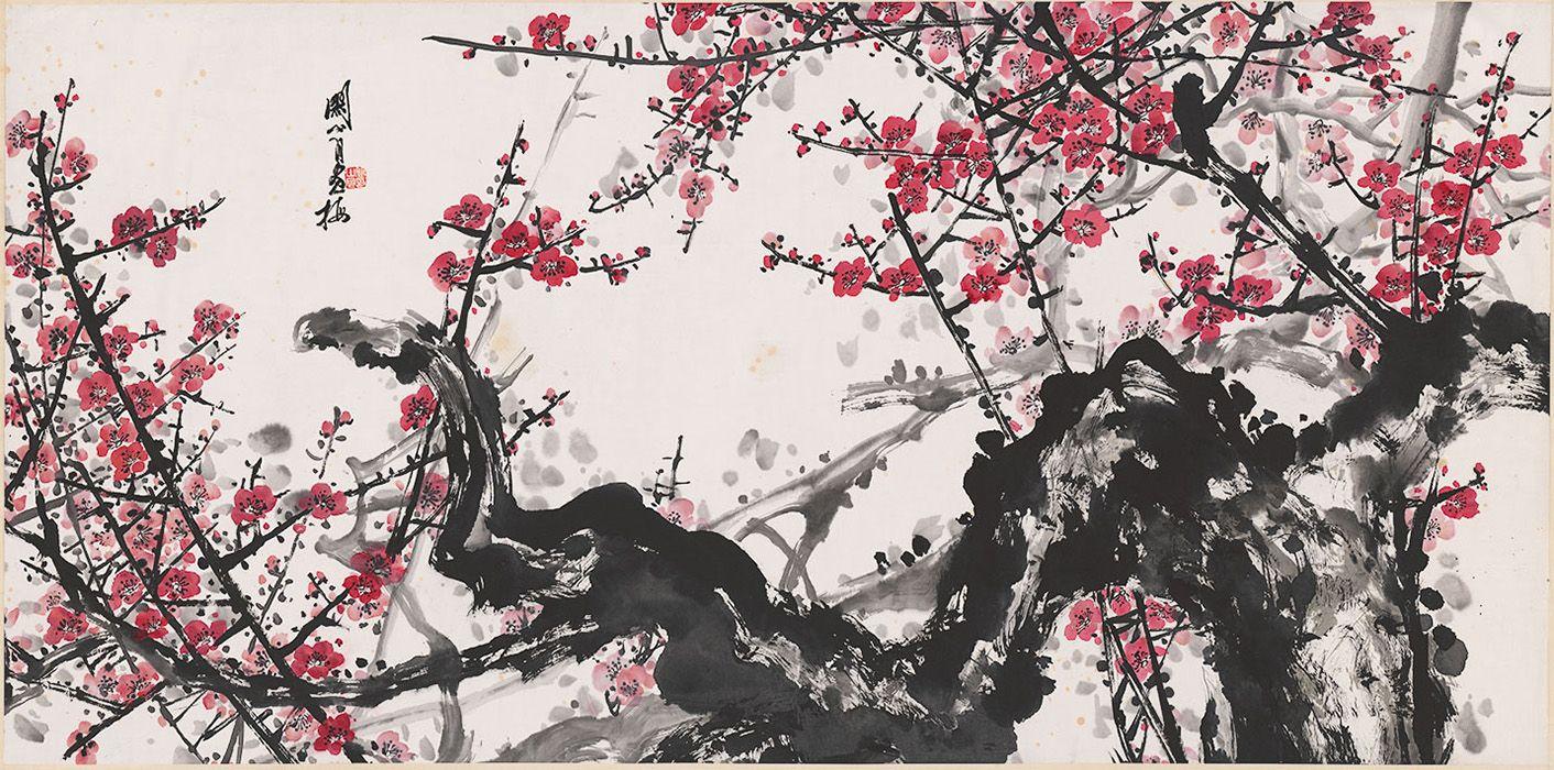 Guan Shanyue Red Plum China Online Museum Chinese Cherry Blossom Plum Blossom Painting Cherry Blossom Tree Tattoo