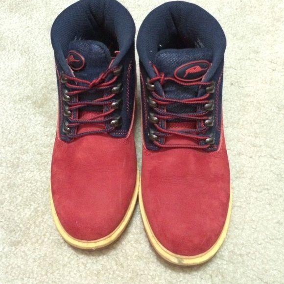 29e92444fbed Red Suede and Denim FUBU Boots If you love urban style you will love these  boots. Red Suede and Blue Denim make these boots irresistible.