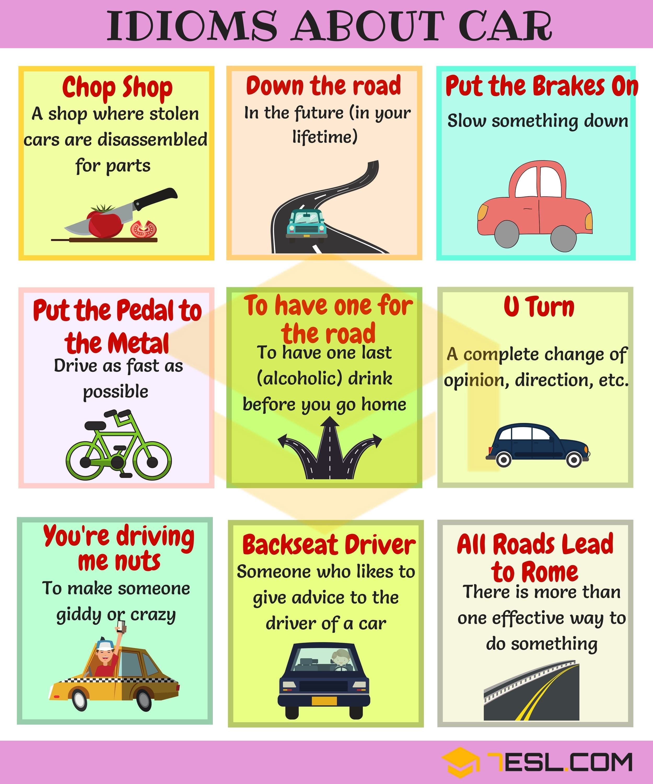Car Idioms Useful Car Speed And Driving Idioms Amp Sayings