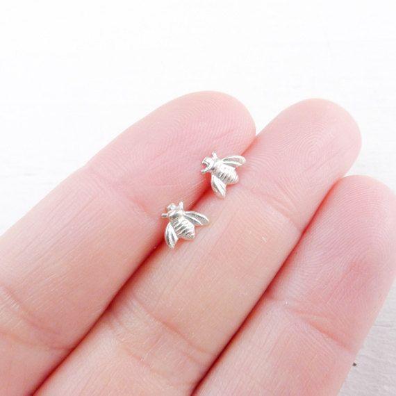 Dangle earrings Honeycomb featuring Tiny Bee Cute bee gift