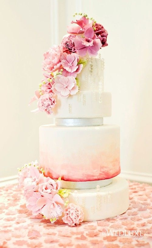 Multi-Tier Cake with Cascading Pink Flowers by Sophia964